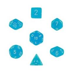 Set de 7 dés Frosted - bleu-caraïbe/blanc