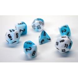 Set de 7 dés Gemini - turquoise-blanc/noir