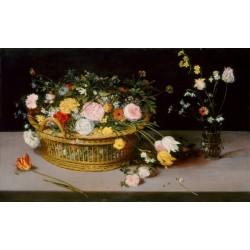 Pieter Breughel l'Ancien - Fleurs dans un panier et vase