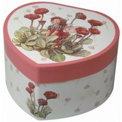 Boîte Musicale Coeur, Fée et Fleurs Rouges