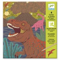 4 cartes à gratter - Le règne des dinosaures