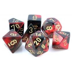 Set de 7 dés Gemini - noir-rouge/or