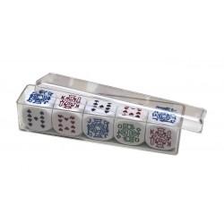 Dés de poker en étui plastique