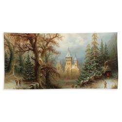 Albert BREDOW - Paysage Hivernal Romantique avec des Patineurs près d'un Château