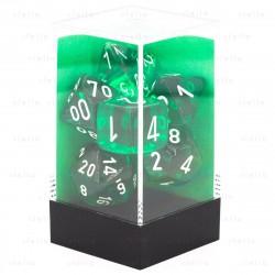 Set de 7 dés Transparent - vert/blanc