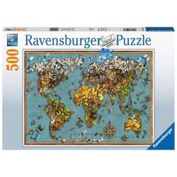 Puzzle 500 pièces Mappemonde de Papillons