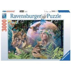 Puzzle 3000 pièces Loups au Clair de Lune
