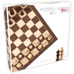 Jeu d'échecs plateau biseauté 36cm, pièces buis et palissandre