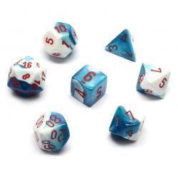 Set de 7 dés Gemini - bleu astral-blanc/rouge