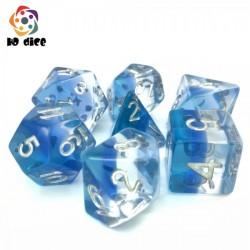 Set de 7 dés - Nuances de bleu transparent
