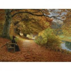 Hans Andersen Brendekilde: un chemin boisé en automne