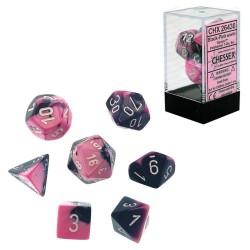 Set de 7 dés Gemini - noir-rose/blanc