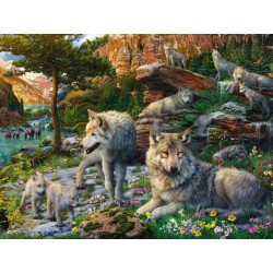 Puzzle 1500 pièces Loups au Printemps