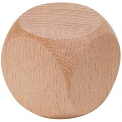 Dé/cube vierge en bois 6cm de côté