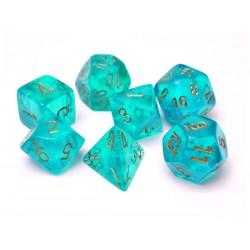 Set de 7 dés Borealis - turquoise/or