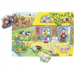 Puzzle à encastrements avec images cachées : La ferme
