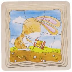Puzzle à couches : lapin et carottes