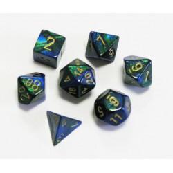 Set de 7 dés Gemini - bleu-vert/or