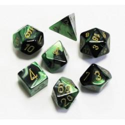 Set de 7 dés Gemini - noir-vert/or