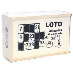 Boite en bois de loto  (90 pions+ 96 cartons)
