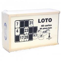 Boite en bois de loto  (90 pions+ 48 cartons)