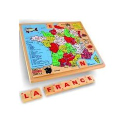 Puzzle bois carte de france et jeu de lettres au verso 56 pièces.