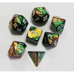 Set de 7 dés Gemini - or-vert/blanc