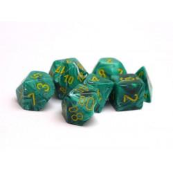 Set de 7 dés Vortex - vert malachite/jaune