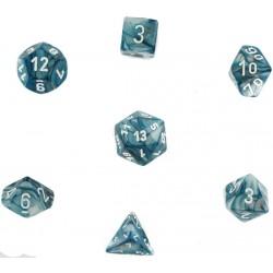 Set de 7 dés Lustrous - ardoise/blanc