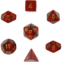 Set de 7 dés Scarab - scarlet/or